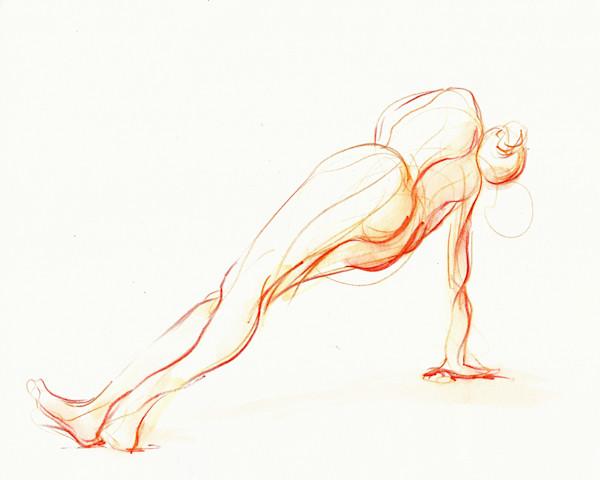 Side Plank Yoga Pose Art Original Watercolor Painting