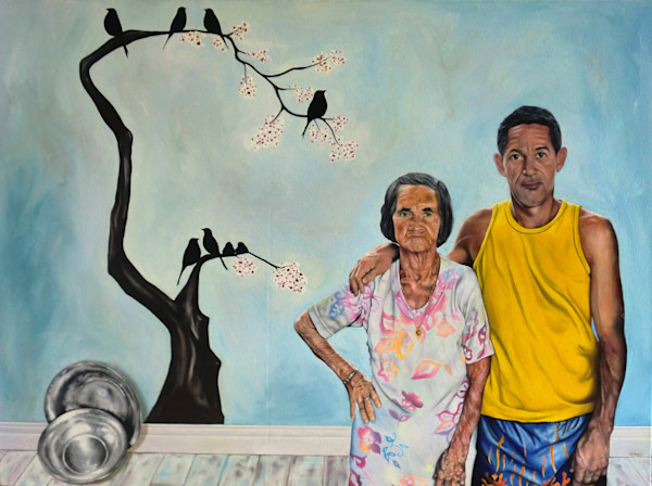 Shop Raquel Fornasaro Perch Contemporary Original Fine Art Oil Portrait on Canvas
