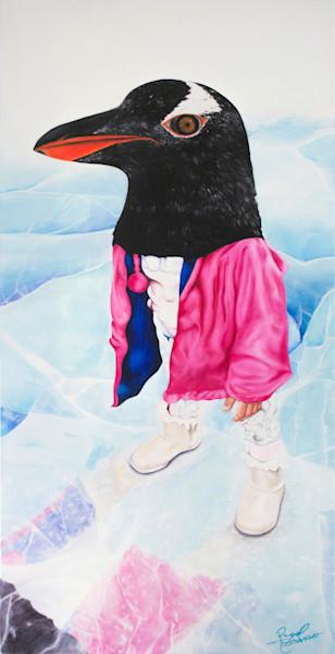 Shop Raquel Fornasaro Penguin Contemporary Original Fine Art Oil Portrait on Canvas