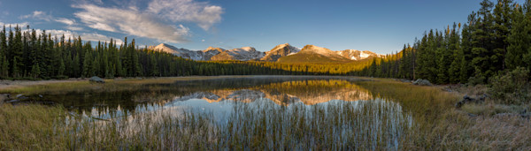 Panoramic Photo of Bierstadt Lake at Sunrise & Snow Capped Mountain Reflections