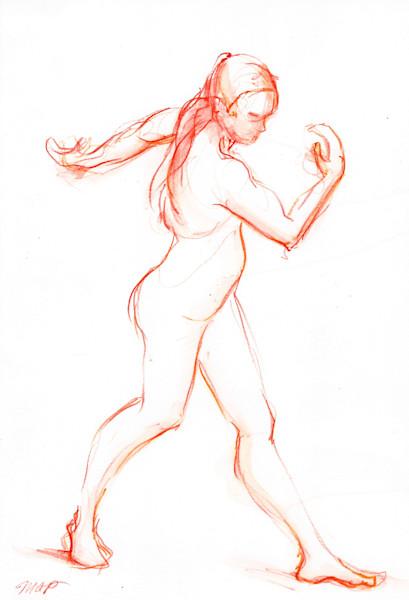 Original Orange Figure Painting. Watercolor Art by Michelle Arnold Paine