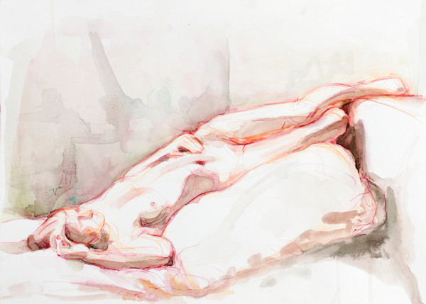 Red and Green Reclining Female Original Watercolor Painting