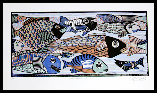 a multicolored linocut reduction with fish swimming in ocean by printmaker Mariann Johansen-Ellis, art, paintings