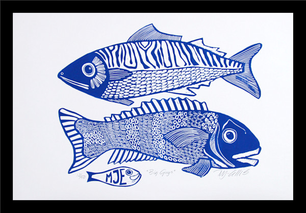 blue and white linocut with fish for that gift for him, a linocut, limited edition fish print by printmaker Mariann Johansen-Ellis, art, paintings