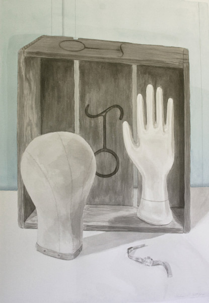 Head hand and watch still life painting by Claire K Stringer