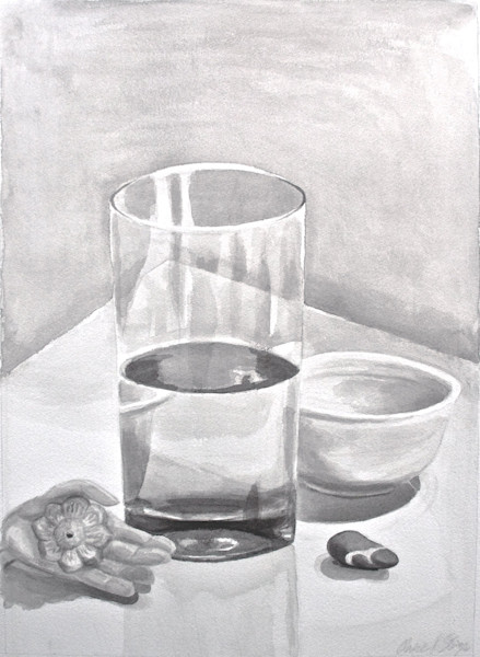 Still life art painting of a glass by Claire K Stringer