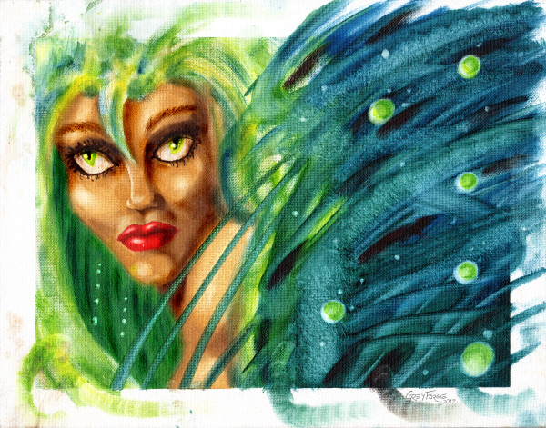 Green Silent Lady is a fine art oil painting with rub technique by Grey Forge LeFey.
