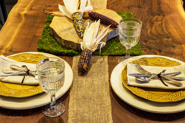 Harvest Table Setting (161624LSND8) Photograph for Sale as Commercial Product or Digital Licensing Only