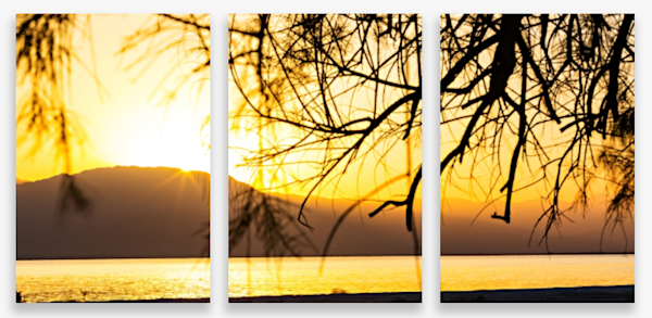 Salton Sea At Sunset From Mecca Beach Campground Multi-Panel Art Wall For Sale As Fine Art