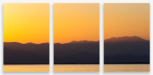Colorful Sunset Over Salton Sea From Mecca Beach Multi-Panel Art Wall For Sale As Fine Art
