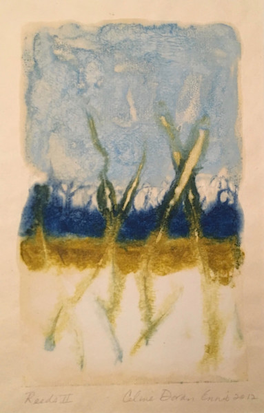 Original-Art, , Monotype, reeds, celine-ennis, encaustic-monotype, beeswax,