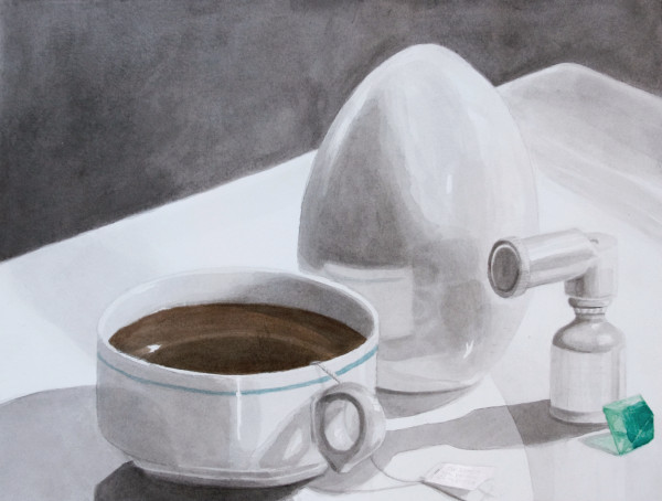 Still Life Painting - Crystal art, tea, egg, inhaler - Claire K. Stringer