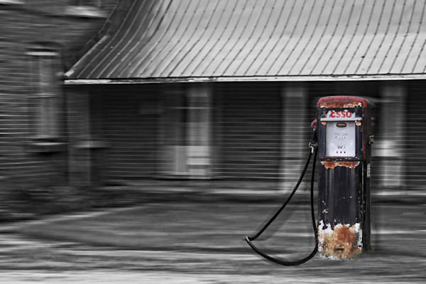 Gas Pump Coppers Falls Dream in Black and White Series