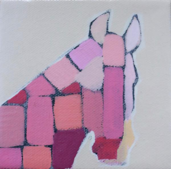 MINI Pink Mosaic Horse 4 x 4