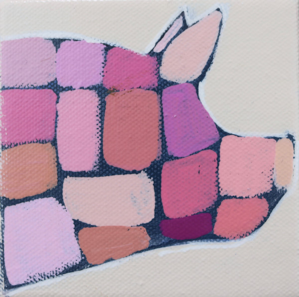MINI Party Pink Mosaic Pig 4 x 4
