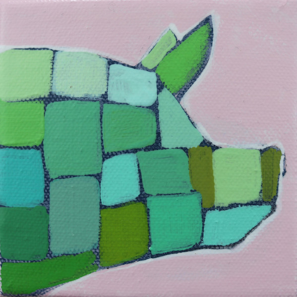 MINI Preppy Pink and Green Mosaic Pig 4 x 4
