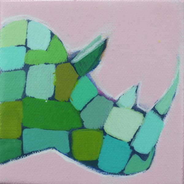 MINI Preppy Pink and Green Mosaic Rhino 4 x 4