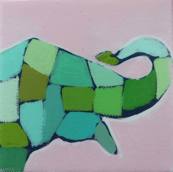 MINI Preppy Pink and Green Mosaic Elephant 4 x 4