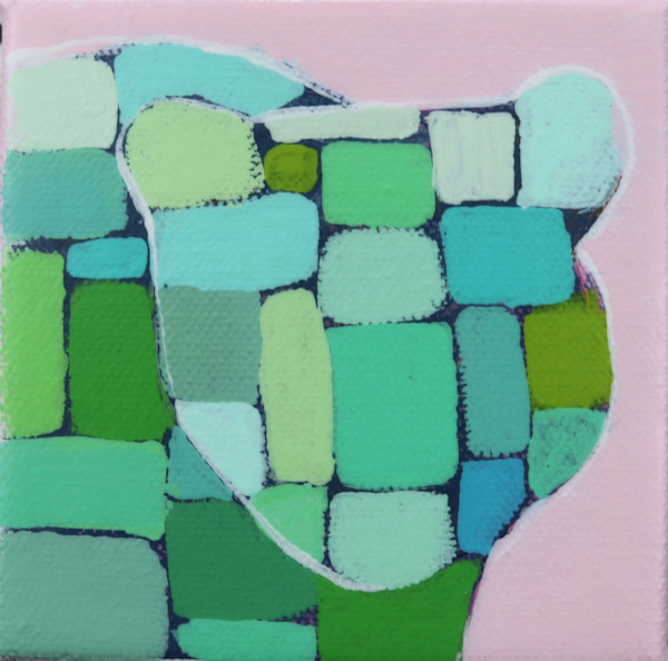 MINI Preppy Pink and Green Mosaic Bear 4 x 4