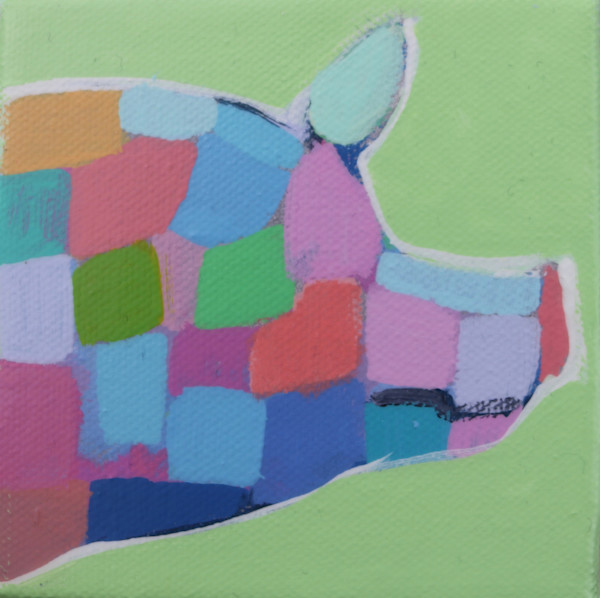 SOLD - MINI Happy Green Mosaic Pig 4 x 4