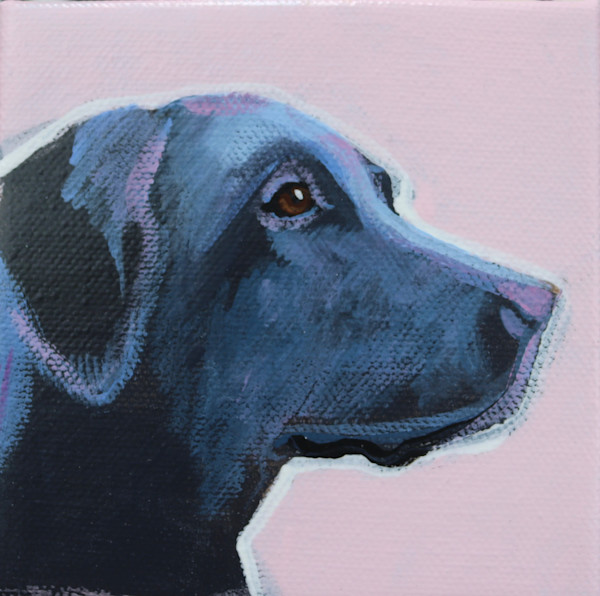 SOLD - MINI Pastel Pink Black Lab 4 x 4