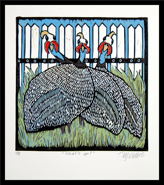 guineafowl bird print by printmaker Mariann Johansen-Ellis, art, paintings