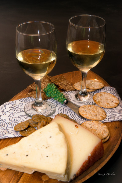 White Wine & Cheese & Crackers (171768LSND8C) Photograph for Sale as Commercial Product or Digital Licensing Only