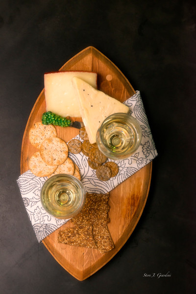 White Wine & Cheese Top Down (171767LSND8C) Photograph for Sale as Commercial Product or Digital Licensing Only