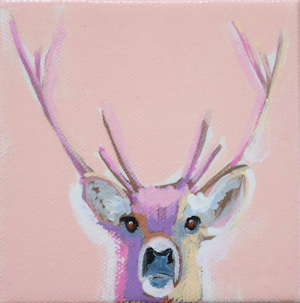 MINI Red Stag on Peachy Pink 4 x 4