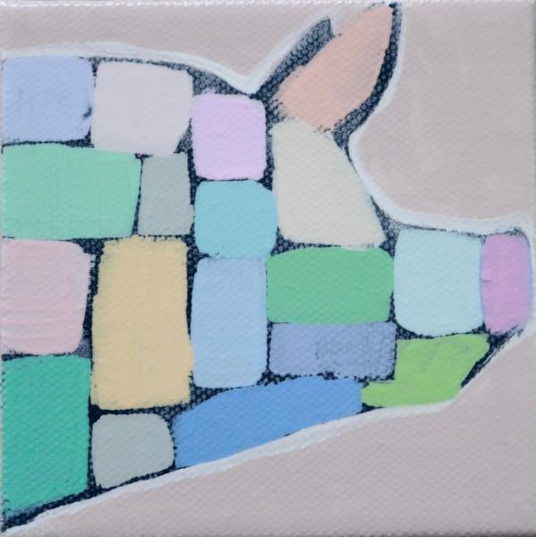 MINI  Jolly Pastel Mosaic Pig 4 x 4