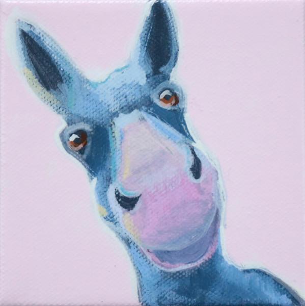 "SOLD - MINI ""Nikki"" Donkey on Pink 4 x 4"