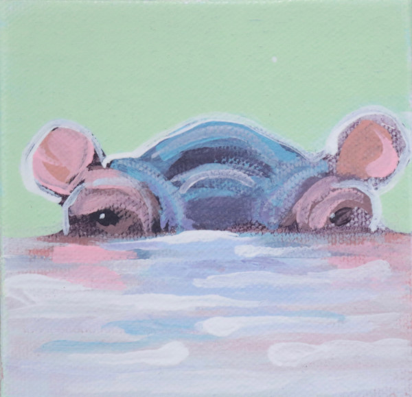 "MINI ""Bubbette"" Hippo on Pale green 4 x 4"