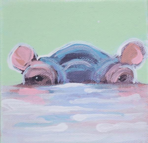 """SOLD - MINI """"Bubbette"""" Hippo on Pale green 4 x 4"""