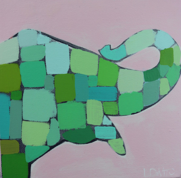 MAXI - Lilly Pink and Kelly Green Mosaic Elephant  8 x 8
