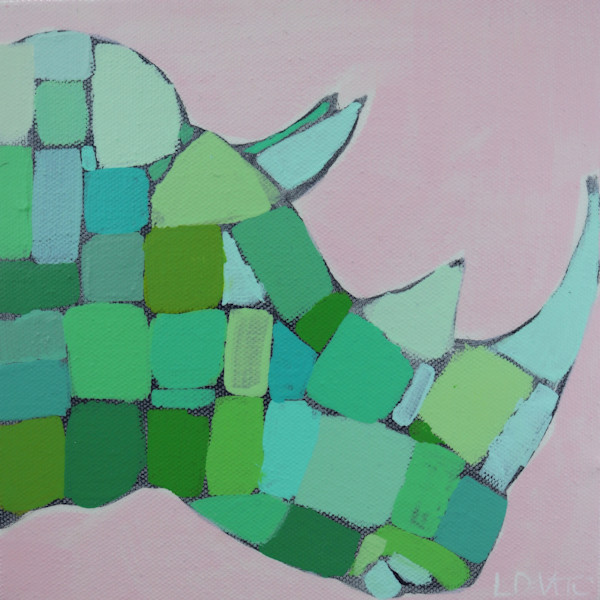 MAXI -  Lilly Pink and Kelly Green  Mosaic Rhino  8 x 8