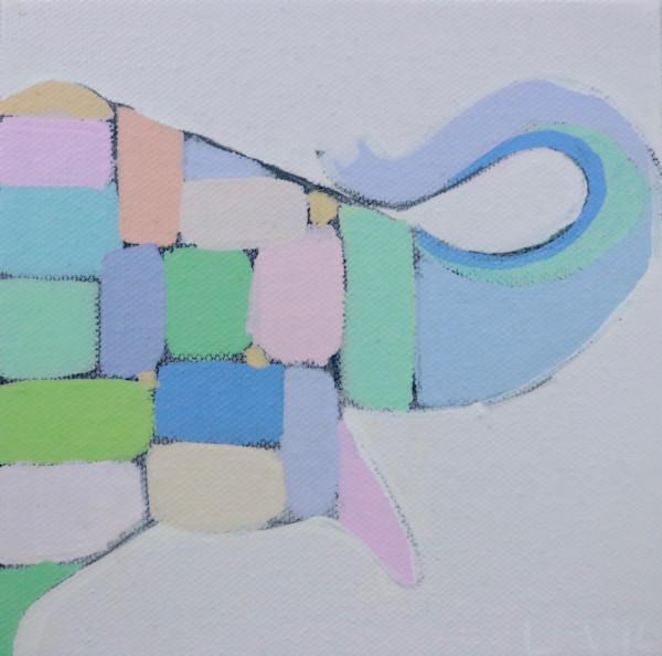 MIDI  - Soft Pastel Mosaic Elephant 6 x 6
