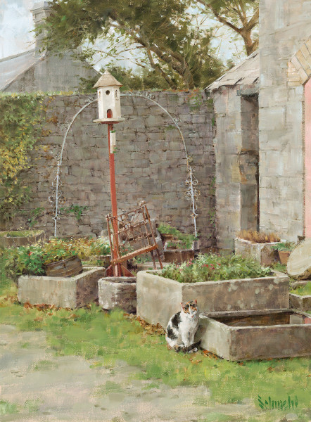 Courtyard Kitty Art for Sale