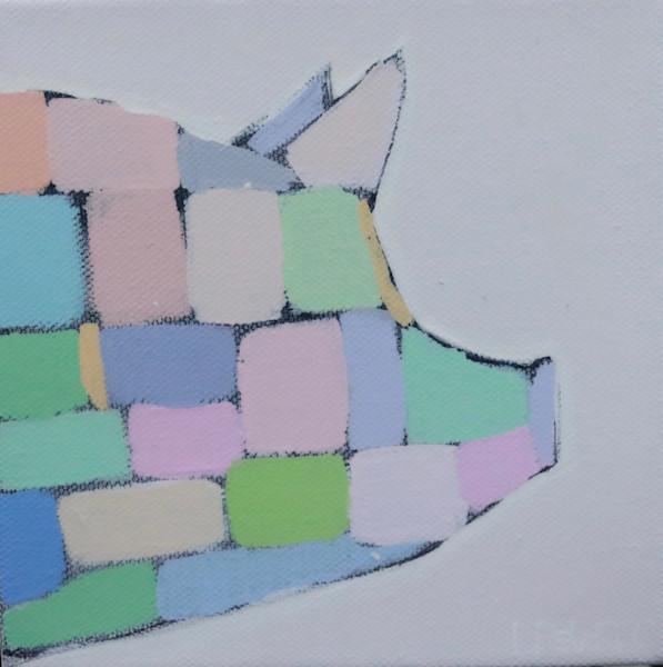 MIDI  -  Soft Pastel Mosaic Pig 6 x 6