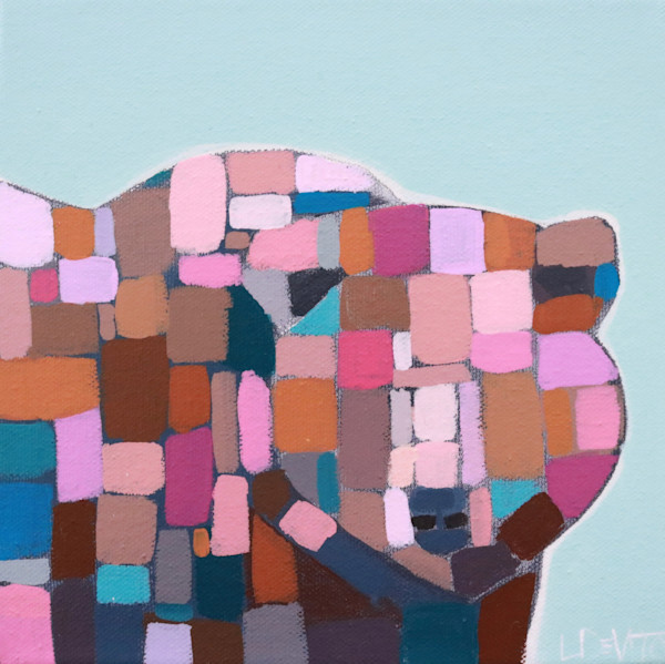 "MAXI -  ""Duncan"" Teal Mosaic Bear  8 x 8"