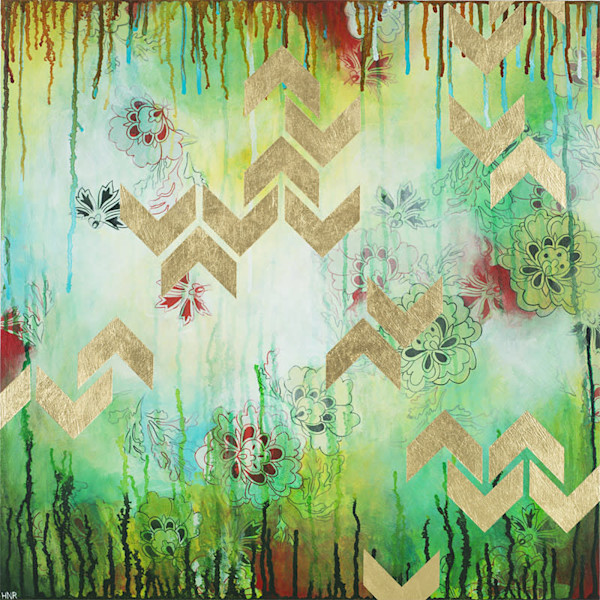 Chevrons Spring, a fine art original painting by Heather Robinson