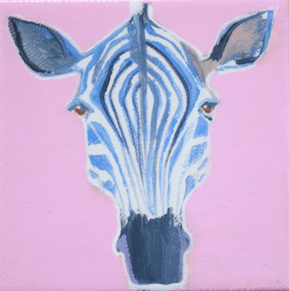 "MINI  ""Zsa-Zsa"" the Zebra on Rose Pink 4 x 4"