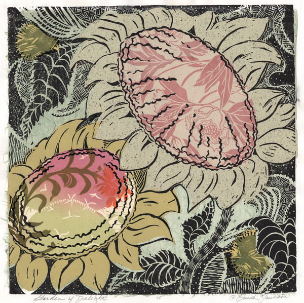 Garden of Delight, a new sunflower woodcut by Ouida Touchon, New Mexico artist.