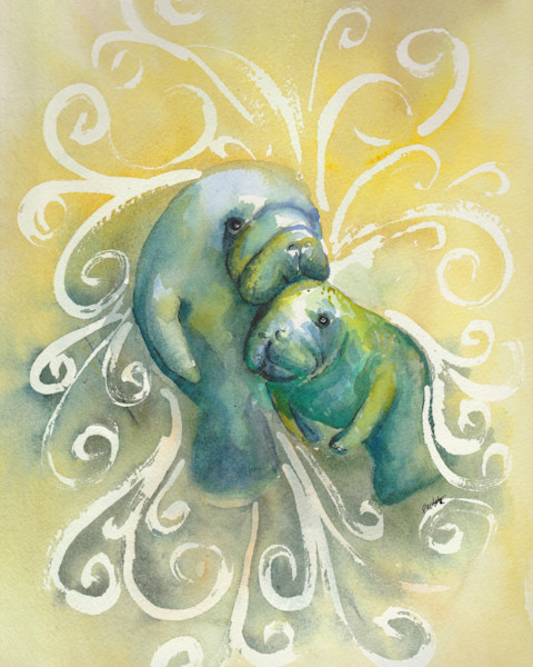 Two manatees in swirls. Tropical watercolor and boudreau-art.com