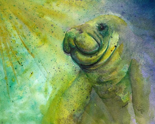 Large manatee presence. Tropical fine-art watercolor @ boudreau-art.com