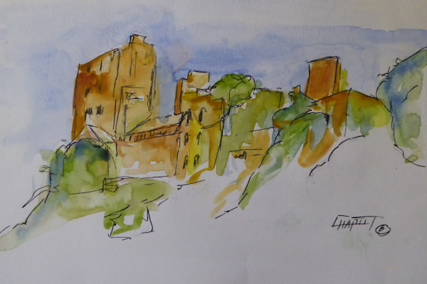This is an watercolor abstract, impressionistic, representation of a castle on the Rhyne River