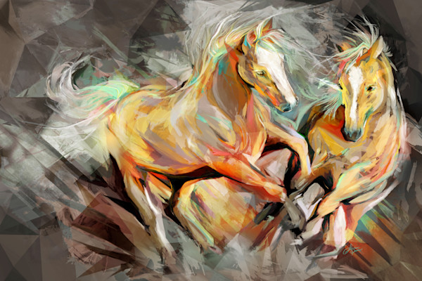 Palomino Duo Neutral Tone Art Print