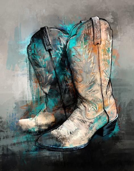 Teal Princess - Cowboy Boots Art Print