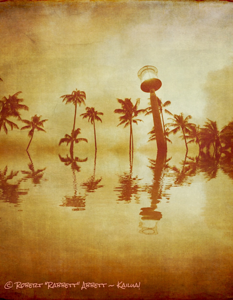 An Old Reflection - I like reflections here and there. This one looks like it might even be 100 years old!  The trees are from Kailua Beach. Enjoy your treasure - from Robert Abbett Art!