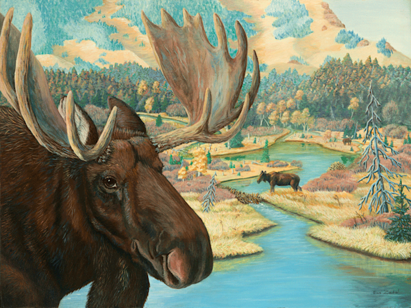 Moose Junction reproduction print of a painting by Sue Zabel.