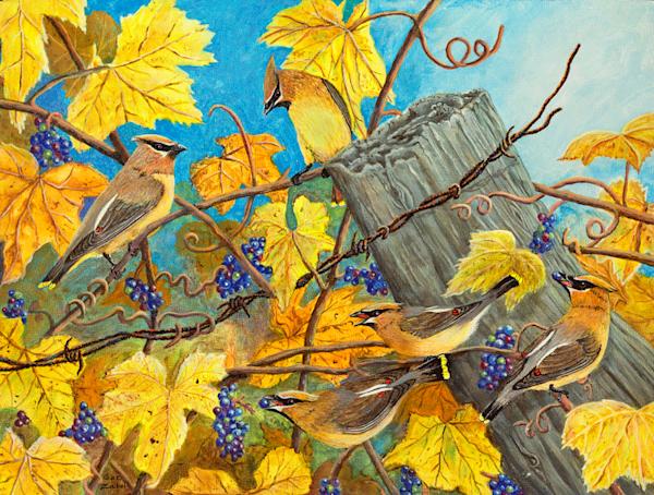 Wild Grape Feast print by Sue Zabel.